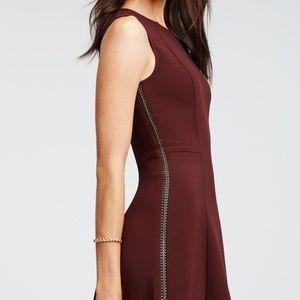 Ann Taylor Burgundy Leather Braid Seam Flare Dress